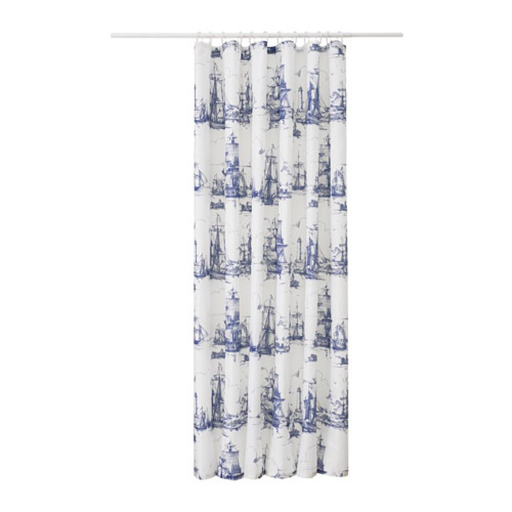 Штора для ванной АГГЕРСУНД синий, белый  фото 1